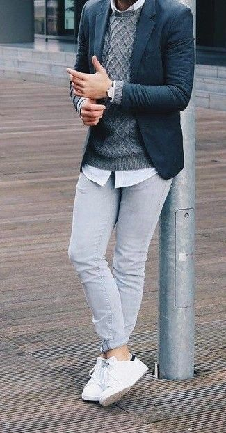 If you're facing a fashion situation where comfort is prized, dress in a nav… If you're facing a fashion situation where comfort is prized, dress in a navy blazer and grey skinny jeans. White leather low top sneakers complement this getup quite well. We're loving that this getup is great when chillier weather hits.