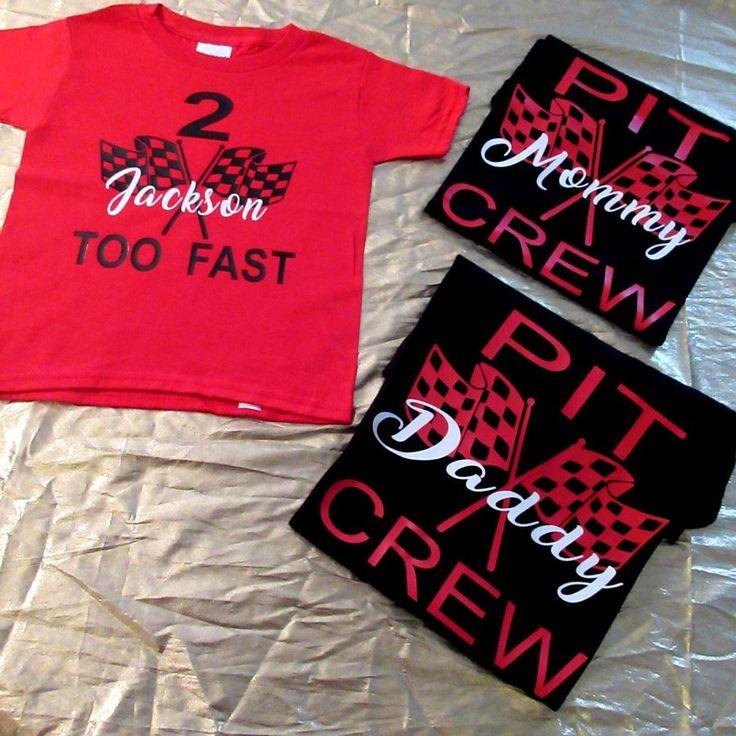 Race Car Pit Crew Family Birthday Vinyl Shirt Set, racing birthday, pit crew, too fast, any age, cars birthday, family shirt set, birthday