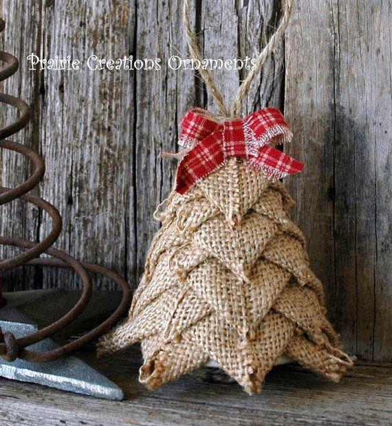 Burlap Rustic Quilted Ornament Tree