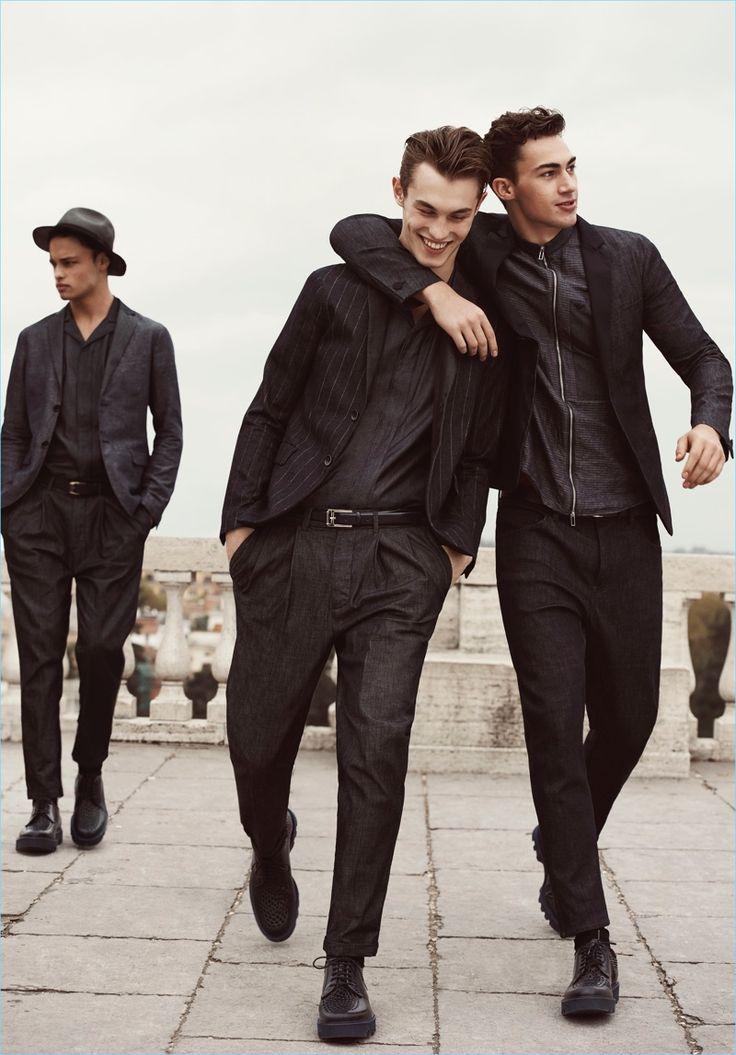 All smiles, Mattia Harnacke, Kit Butler, and Alessio Pozzi come together for Emporio Armani's spring-summer 2017 campaign.