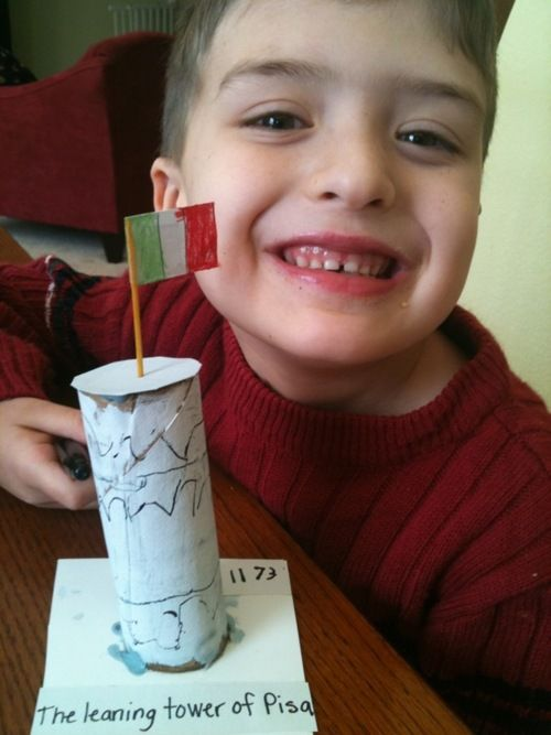 leaning tower of pisa craft. papa piccolo. five in a row. homeschooling