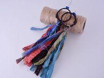 Kolczyki łapacze snów z jedwabiu sari