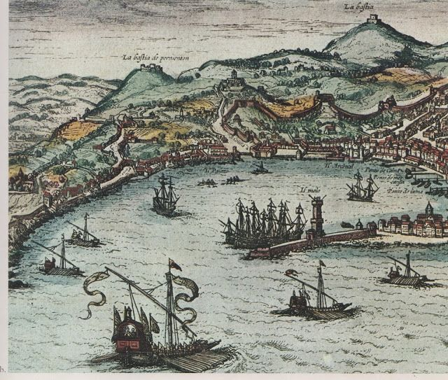 "C'ERA UNA VOLTA GENOVA - etching (acquaforte) by Franz Hogenberg for the ""'opera Civitates Orbis Terrarum""  of  Georg Braun (Colonia 1572) - Particular published by SAGEP Genova in a guidebook titled  ""Porto di Genova"""