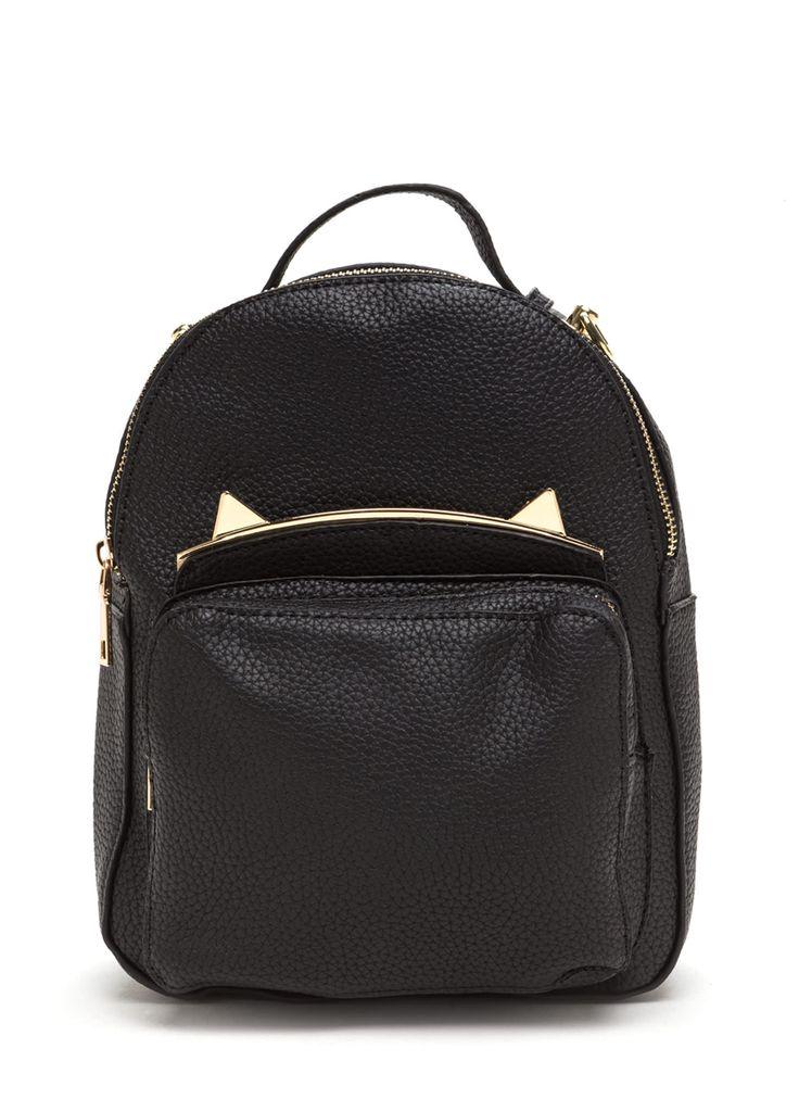 Cat's Meow Mini Faux Leather Backpack BLACK IVORY - GoJane.com