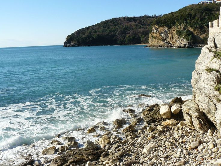 A sunny morning on the Adriatic in Budva Montenegro  beautiful travel panorama