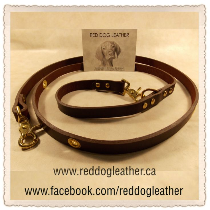 """Red Dog Leather ~ Our Multi Wear Lead is made using harness leather, 6' in length, centered grommets, two lobster claps, one to clip to your dog & the other to create a handle on a 'D' ring or clip  clip to 1/3 grommets for body wearing for hands free dog walking & ideal for joggers. *NO TAX and $20 from your purchase is going back to FMHR.  ~Style & Price~ 6' x 1"""" Multi Wear Lead ~ $115 *Available in Brown & Black. *Shipping available *PayPal: reddogleather@yahoo.ca"""