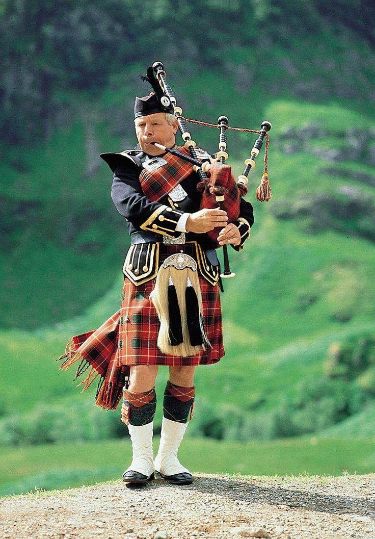 kilts and bagpipes.  Scottish tartan.