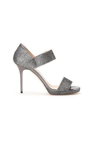 Jimmy Choo woman silver glitter fabric sandals - LuxuryProductsOnline