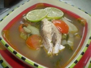 """Trinbagonian"" fish broth. A Caribbean cure for hangovers. ;o)"