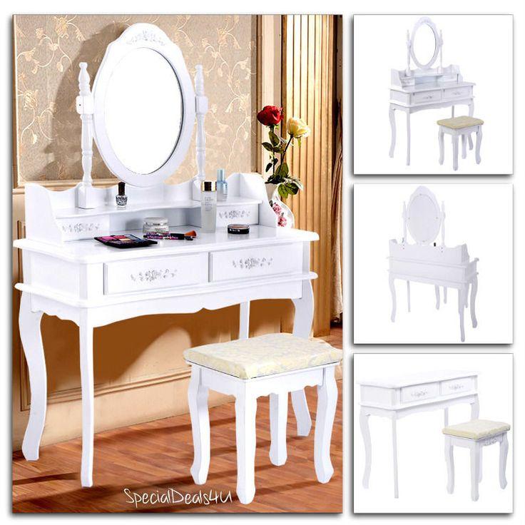 Vanity Table Set Mirror Stool Dressing Drawer Jewelry Wood Vintage Desk Makeup…