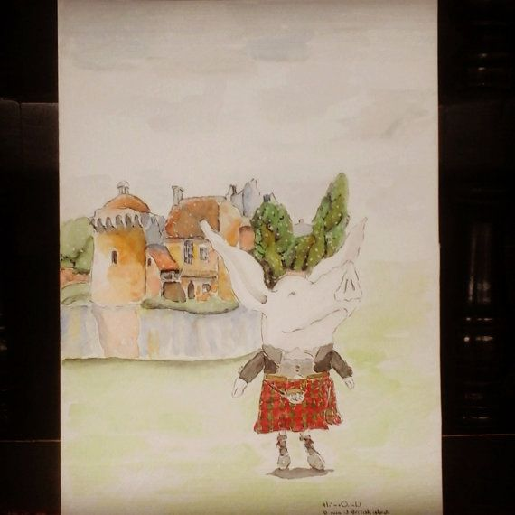 Olivia in Scotland / Original in Watercolor / 96 by MAramburo