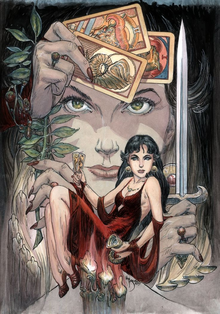 Madame Xanadu - Michael Kaluta: Xanadu has a supernatural sensitivity to occult activities and mystic phenomena. She uses tarot cards to interpret what she senses, and is also able to tell the future of others. Xanadu can levitate objects, teleport herself, and banish demons. her parlor is full of magical books and objects, though she rarely uses these objects of power, merely acting as a guardian of them. She is immortal, never aging and unable to die of natural causes.