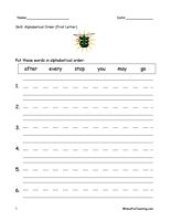 Alphabetical Order Worksheet - To The First Letter - Have Fun Teaching