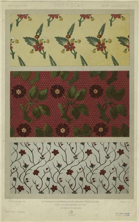 Floral textile designs, 14th century1300S, Floral Pattern
