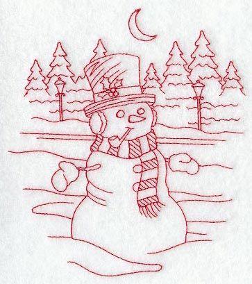 Serene Snowman (Redwork)