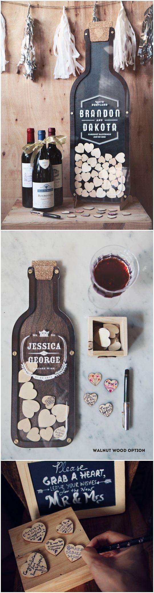 Wine Bottle Wedding Guest Book alternative - Drop Hearts 21st birthday, anniversary gift