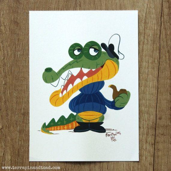 Crocodile Captain postcard by #TerrapinAndToad. A fun, brightly coloured cartoon crocodile postcard.