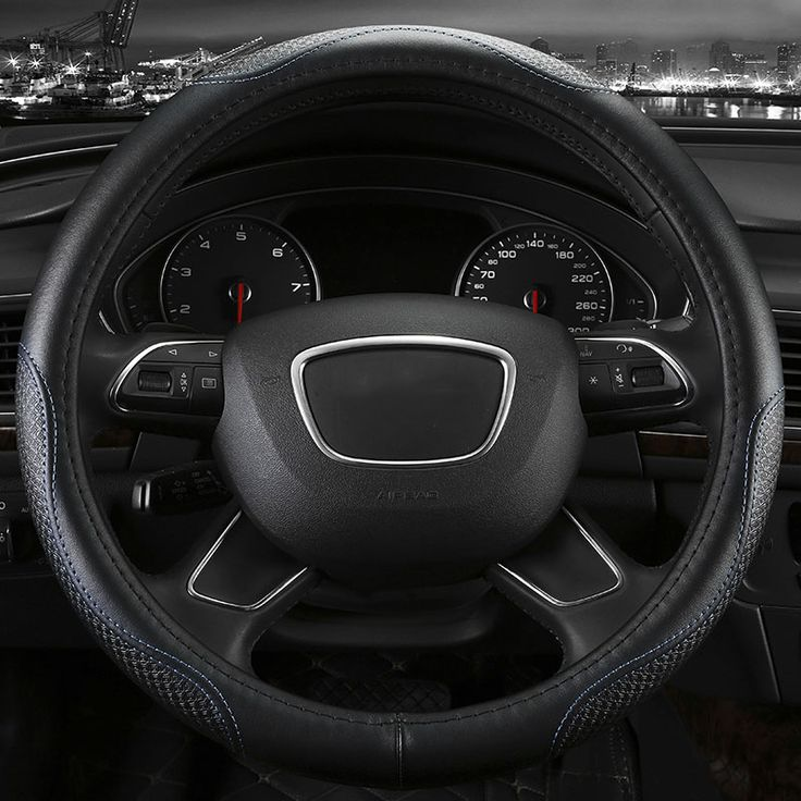 Genuine Leather Car Steering Wheel Cover Five Colors For