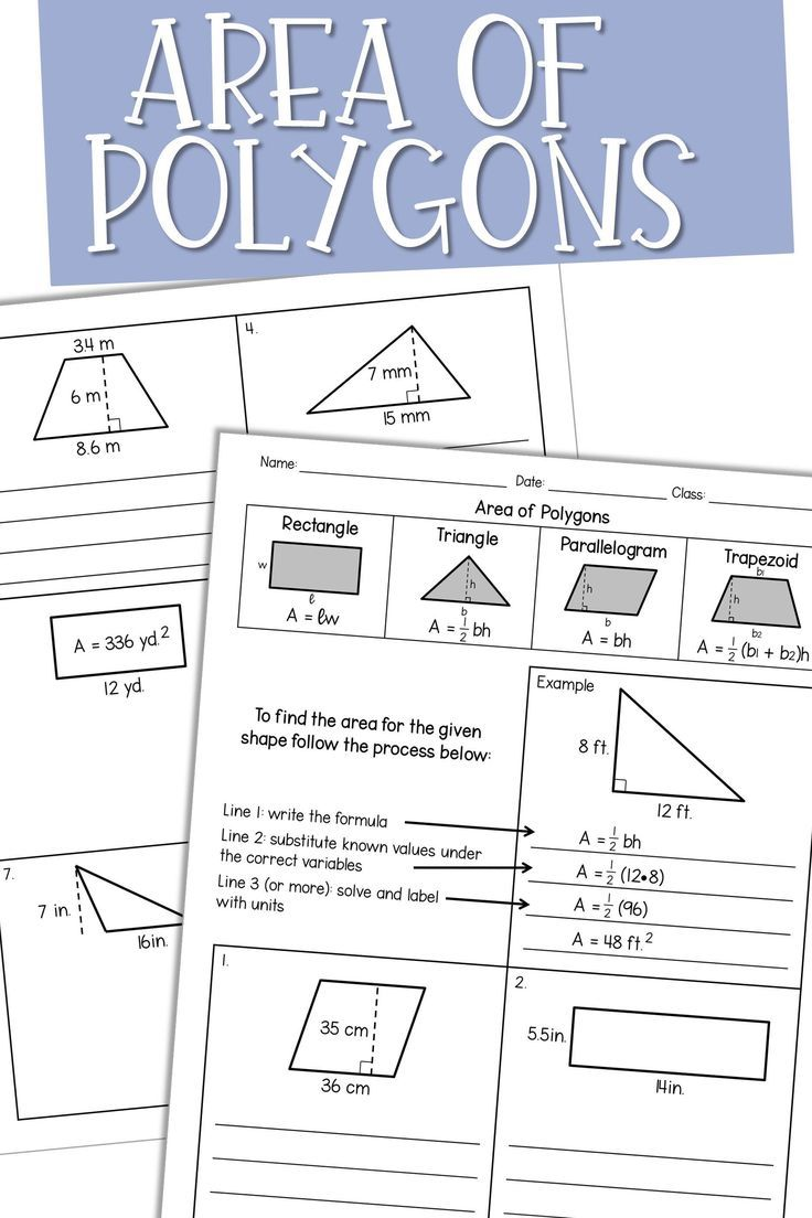 Area Of Polygons Area Worksheets Polygon Middle School Math
