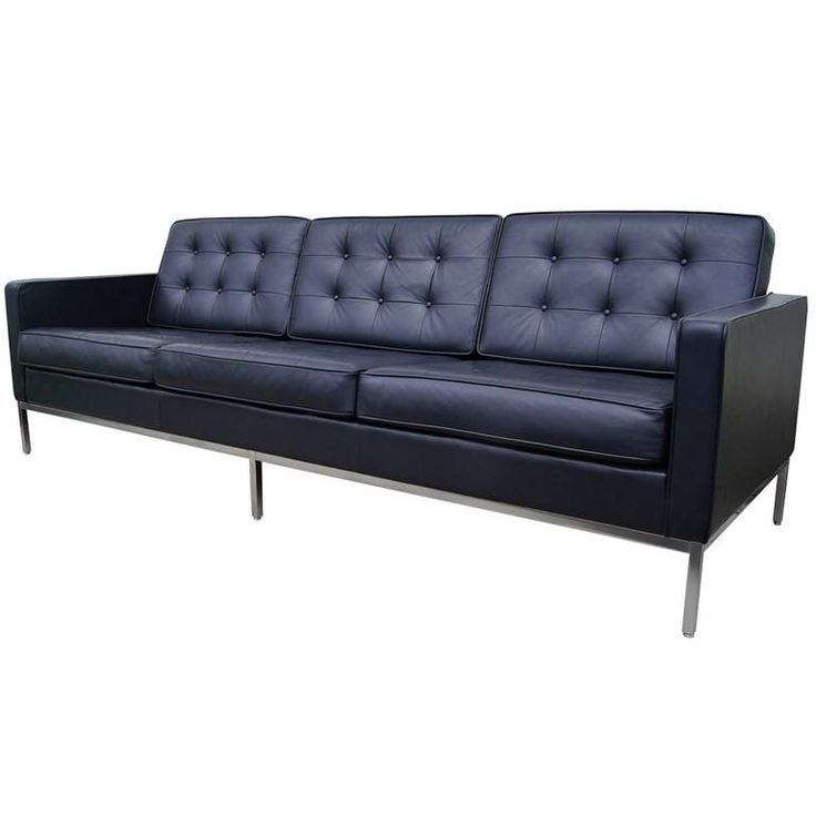 Deep Blue Leather Sofa by Florence Knoll 1