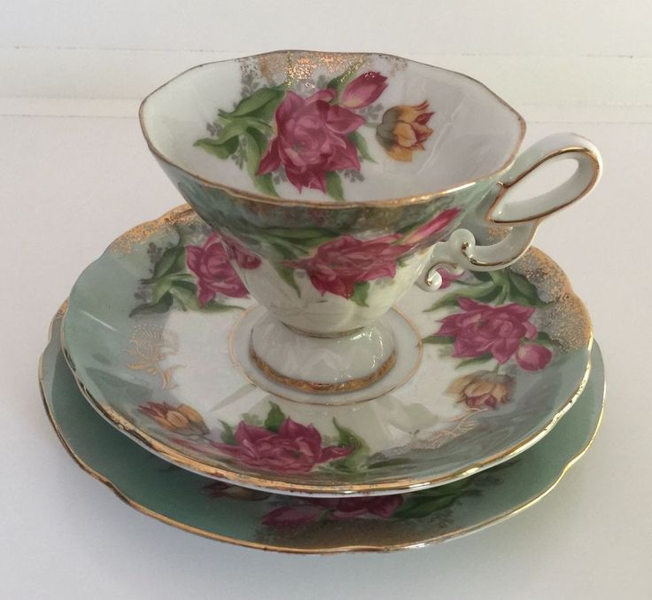 Vintage Floral Trio Cup Saucer Plate Gold Trim Green Ornate Handle #1