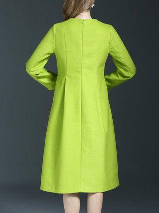 Floral Long Sleeve Wool Blend Painted Midi Dress