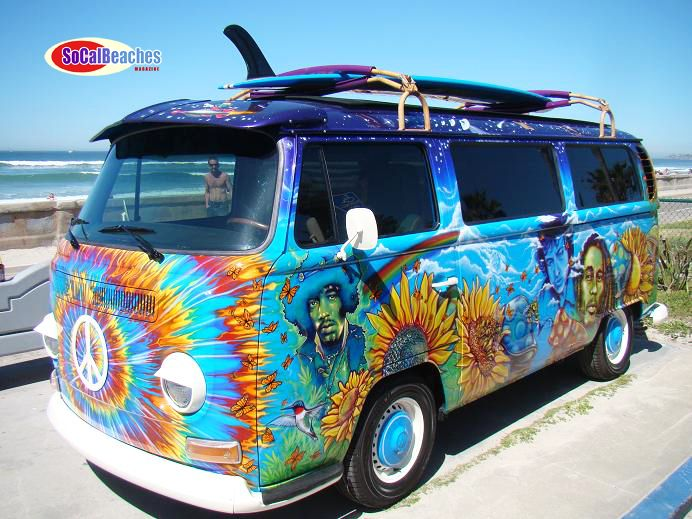 """The Hippie VW Bus,"""" reveals that the hippie lifestyle is possible and present in California today. Description from contestededen.com. I searched for this on bing.com/images"""