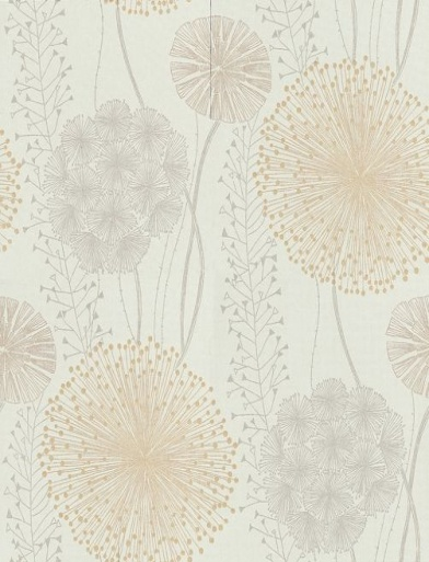 Gardenia (60405) - Harlequin Wallpapers - Large scale seed heads in a subtle design , in soft elegant colour combinations. Shown here in the grey and sand beige on aqua blue green. Available in other colours. Please request sample for true colour match.
