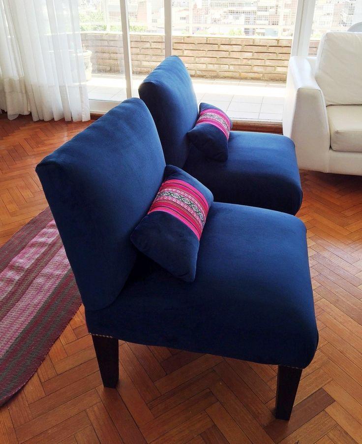 Sillas materas con respaldo de aguayo boliviano. Diseño por cachiBAche.
