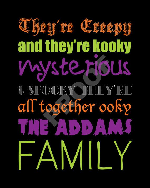 CUSTOMIZABLE The Addams Family HALLOWEEN Lyrics by JaydotCreative