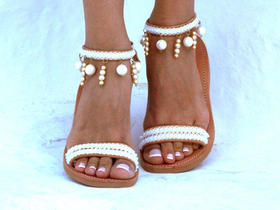 Handmade leather sandals made to order.  Bride sandals, White Beach Wedding…