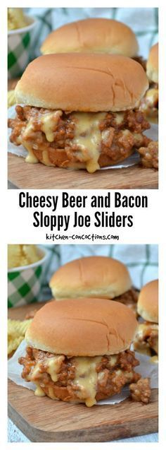 Msg 4 21+: Cheesy Beer and Bacon Sloppy Joe Sliders - Gearing up for the big game? Put this Cheesy Beer and Bacon Sloppy Joe Slider recipe on your game day menu as an appetizer or dinner option and score big with friends and fellow football fanatics! {ad} #BeersAndBuns @krogerco @pepperidgefarm @warsteinerUSA