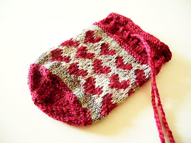 Drawstring Bag With Hearts Knitting Pattern Stranded Colorwork In