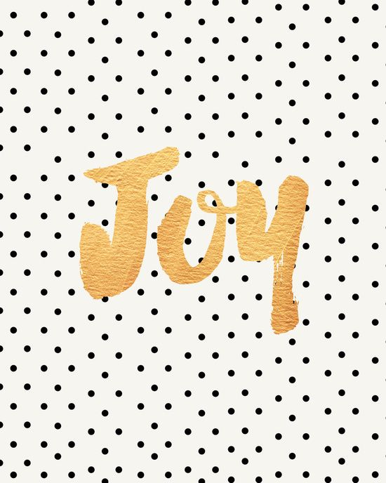 Joy - Polka dots and gold Art Print by Allyson Johnson