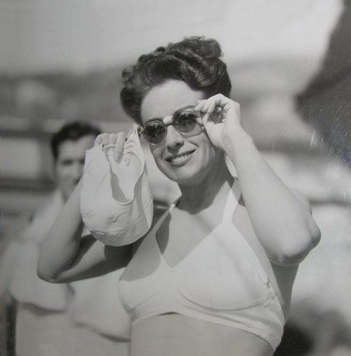 Joan Crawford on the set of Mildred Pierce (1945)