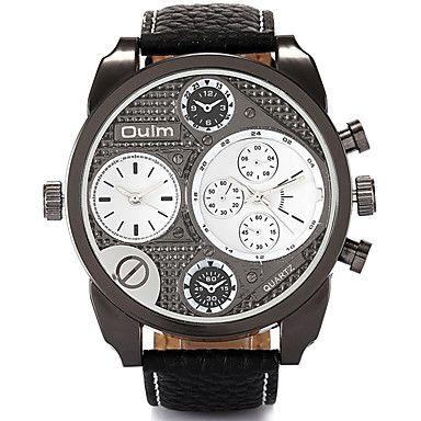 Herren Armbanduhr Quartz Duale Zeitzonen Echtes Leder Band Cool / Bequem Schwarz / Braun Marke 5379220 2016 – €28.41