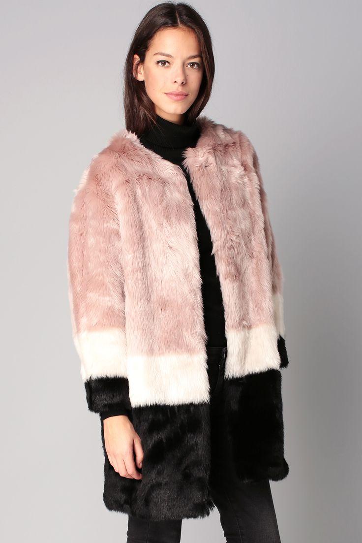 Manteau tricolore fausse fourrure Louise #maisonscotch @monshowroom