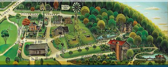 Hand painted Riverdale Farm map on wood by local artist Tim Zeltner