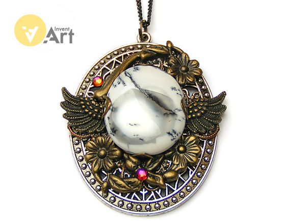 Snow Queen pendant with white opal by Invent-Art