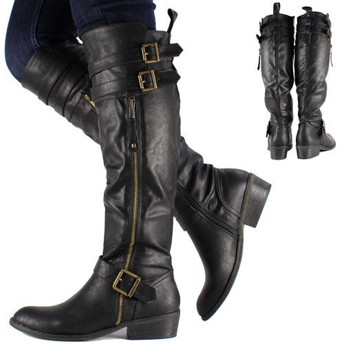 Womens Black Knee High Leather  Biker Riding Boots