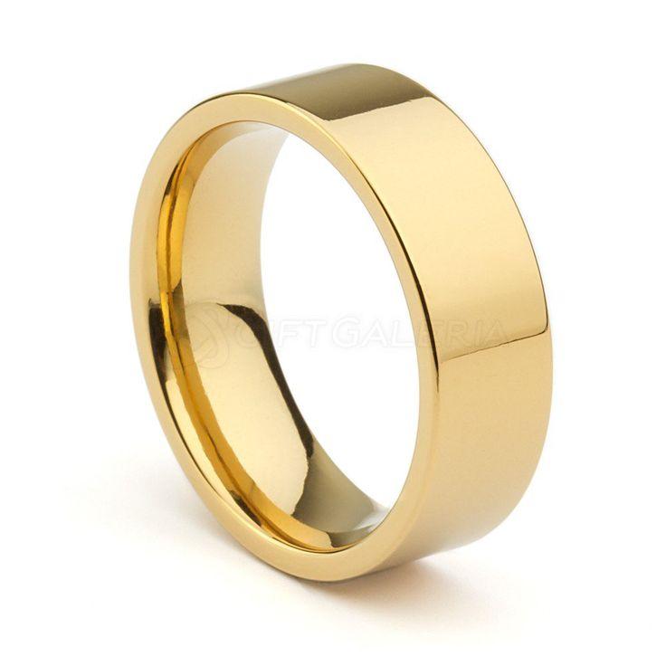 Aliança de Casamento Pacífico 8mm em Tungstênio Ouro