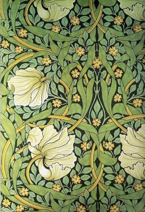 "The William Morris Society - A press campaign in the 1860s triggered a panic over arsenic in wallpaper. Morris never believed that wallpapers could kill people, but he bowed to public pressure. By 1883, he had removed arsenic from all his company's wallpapers. Hop over to our blog to learn more about this urban legend and controversy, and to read about Patrick O'Sullivan's forthcoming paper on the subject. (Image: Morris's ""Pimpernel"" design, registered in 1876.)"