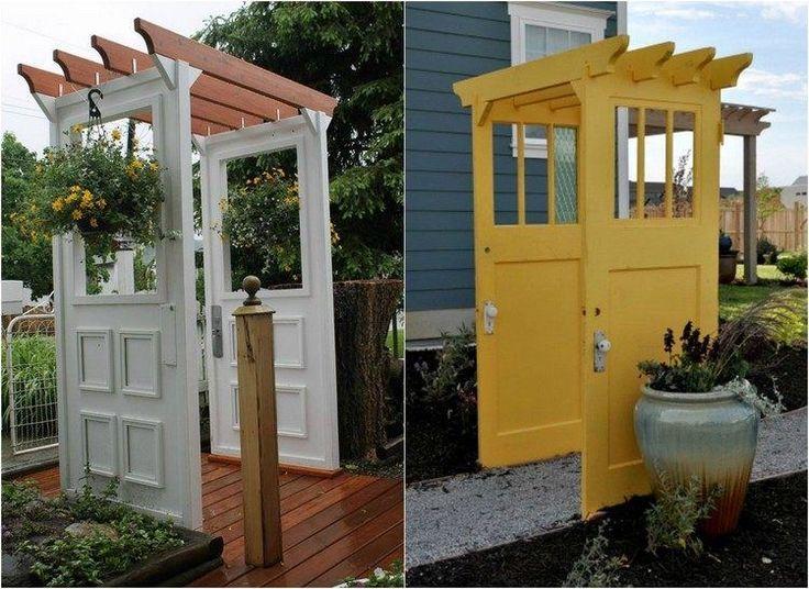 idées déco jardin - mini pergola blanche/jaune fabriquée de vieilles portes