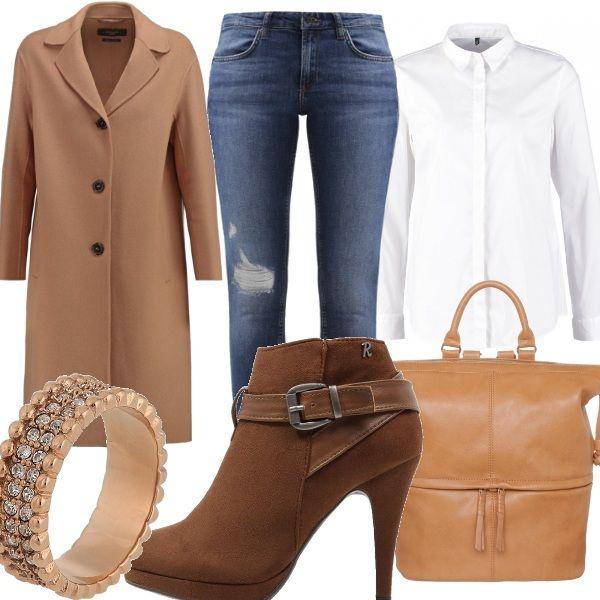 Il cappotto cammello è un capo che tutte le donne che amano la moda dovrebbero avere nell armadio, perchè non passa mai di moda ed è davvero chic. Qui lo abbiniamo ad un altro capo immancabile in un guardaroba che si rispetti, cioè la camicia bianco ottico e sotto ci mettiamo un bel jeans skinny , Gli accessori completano con eleganza il tutto.