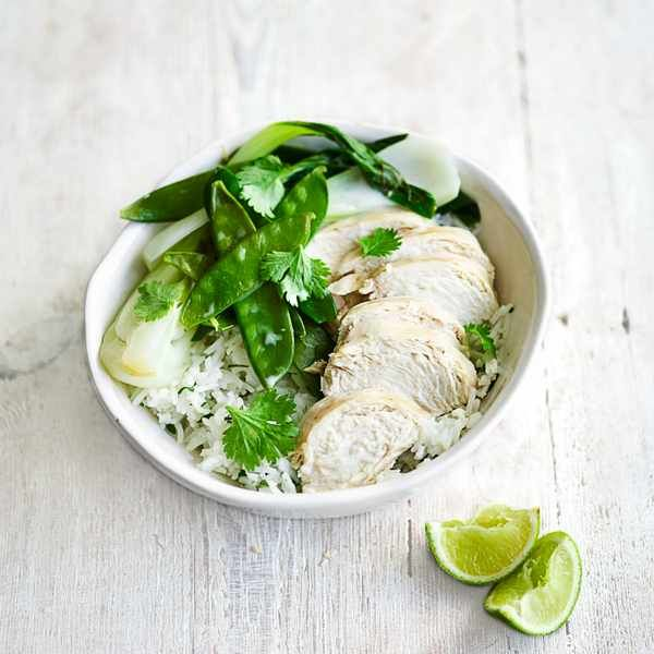 Coconut and lemongrass poached chicken with lime rice