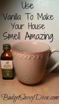 Put two caps full of vanilla extract in a coffee cup, then place it in the oven at 300 degrees for one hour. Within twenty minutes the whole house smells like Heaven. Its actually a common realtor trick.