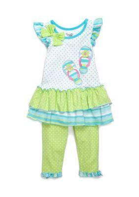 Nanette Nanette Lepore™ Girls' Flip Flop Dot Tunic And Legging 2-Piece Set Toddler Girls - White - 3T