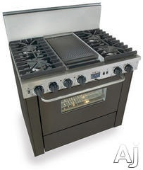 """FiveStar TTN3377  36"""" Pro-Style Dual-Fuel Natural Gas Range with 4 Sealed Ultra High-Low Burners, 3.69 cu. ft. Convection Oven, Self-Cleaning and Double Sided Grill/Griddle  $5,270.32"""
