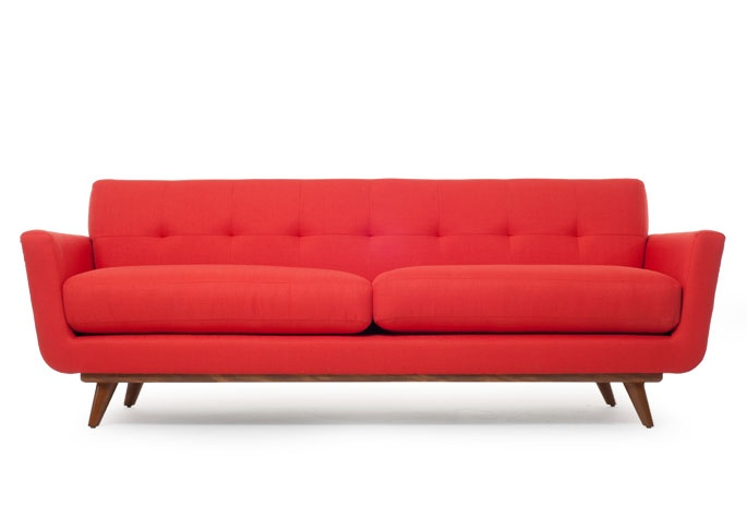 "Nixon Sofa - Thrive Furniture - on sale for $1799 - the little swatch closeup looks more of an atomic orange (less pinky) & the color is called ""Klein Atomic""."