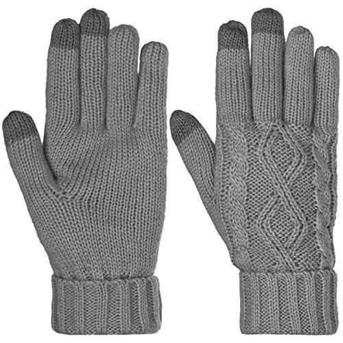 DG Hill Warm Texting Gloves For Women Cable Knit Touchscreen Winter Text Gloves Cute & Cozy Fleece LiningCharcoal GrayOS